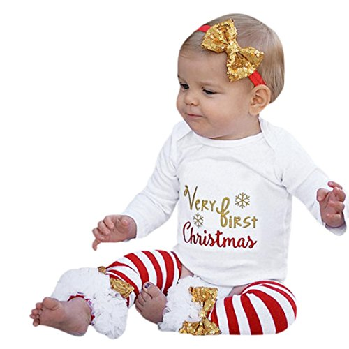 Tsmile Xmas 3PCS Infant Baby Letter Christmas Romper+Leg Warmers+Bow Headband Outfit Set (70, White)