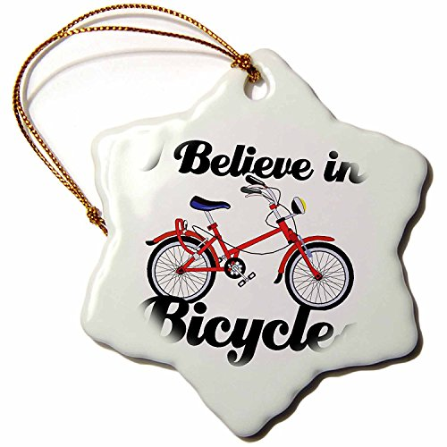 3dRose ORN_104815_1 I Believe in Bicycles-Snowflake Ornament, Porcelain, 3-Inch