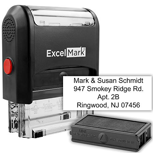 Self Inking Rubber Stamp with up to 4 Lines of Custom Text (42A1848) (Custom Stamp with Additional Replacement Stamp Pad)]()