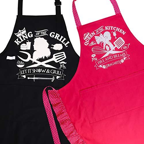 Mr Mrs Couples Matching Aprons - Jon Snow Khaleesi His Hers Wedding Anniversary Gifts Set for Men Grill Women Cooking ()