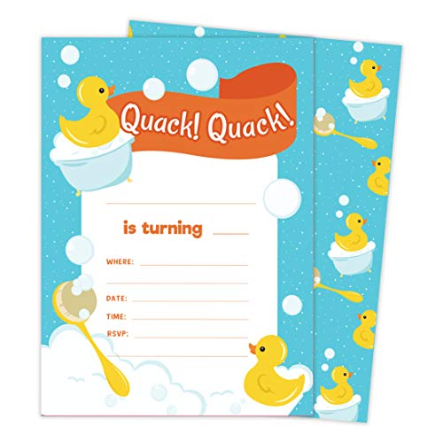 Rubber Duck Style 2 Happy Birthday Invitations Invite Cards (10 Count) With Envelopes Boys Girls Kids Party (10ct)