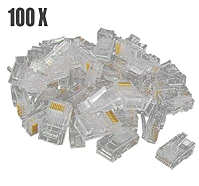 100 X Yonger RJ45 CAT 5 8P8C Crimp Connector for Solid and Stranded Cable