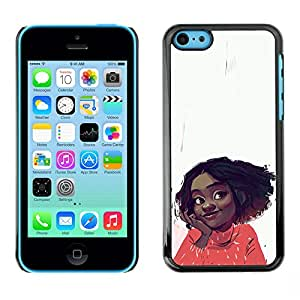 Shell-Star Arte & diseño plástico duro Fundas Cover Cubre Hard Case Cover para Apple iPhone 5C ( Cheerful Happy Girl Positive Portrait Art Face )