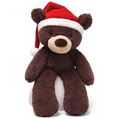 Gund Fuzzy Bear with Santa Hat Tan 13