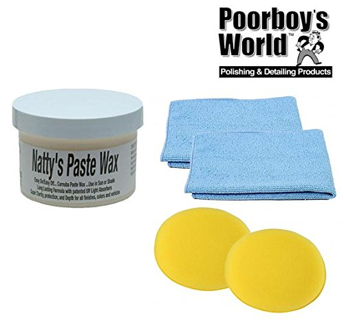Poorboys Nattys Paste Wax Carnauba White Natty's 8oz + 2 Free Cloths & Pads Poorboys World
