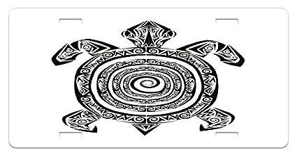 Tortuga placa de licencia por Ambesonne, maorí tatuaje estilo ...