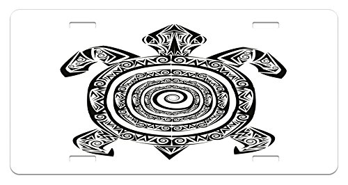 Ambesonne Turtle License Plate, Maori Tattoo Style Figure of Sea Animal Tribal Spiral Form Ancient Tropical, High Gloss Aluminum Novelty Plate, 5.88 L X 11.88 W Inches, Black and White