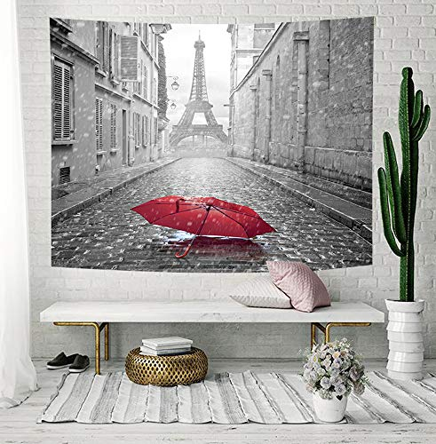 NYMB Paris Tapestry, Eiffel Tower Under Red Umbrella in France Street Tapestry Wall Hanging, Tapestry Wall Blankets for Bedroom Living Room Dorm Ceiling TV Background, 71 X 60 Valance Home Art Decor
