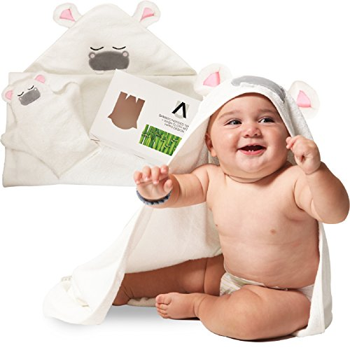Premium Bamboo Hooded Baby Towel + Washcloth Set | Extra Soft & Absorbent | Sized for Infants and Toddlers - for Boys and Girls by AMUNIQ (Towel Mitt Hooded)