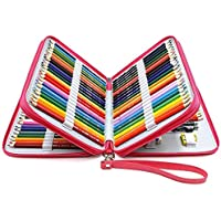 YOUSHARES 120 Slots Pencil Case - PU Leather Handy Multi-Layer Large Zipper Pen Bag with Handle Strap for Prismacolor…