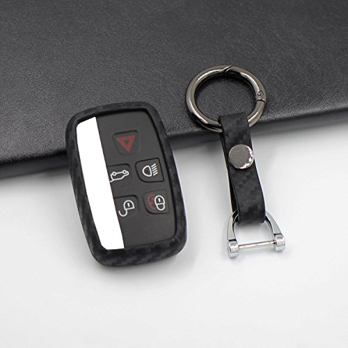 M.JVisun Soft Silicone Rubber With Carbon Fiber Texture Pattern Skin Cover Protector For Jaguar Key Fob, Car Keyless Entry Remote Key Fob Case Cover For Jaguar XE XF XJ F-PACE F-TYPE - Round Keychain by M.JVisun