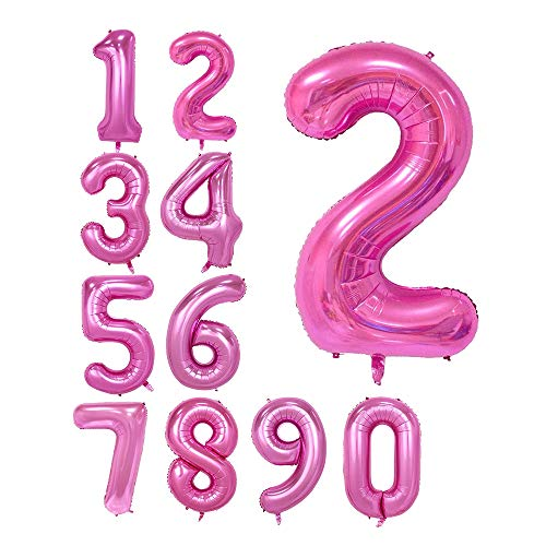 Pink 40inch Number 2 foil balloons for Birthday Party (Pink -