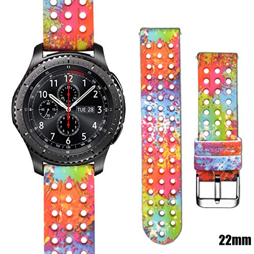 Lwsengme 22mm Silicone Watch Bands, Quick-Release Sport Color Breathable Straps -