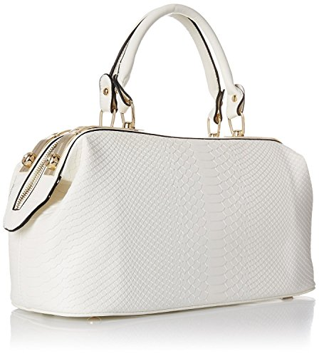 Mn&Sue Fashion Women Embossed Leather White Crocodile Patent Doctor Style Top Handle Handbag Lady Purse (Large)