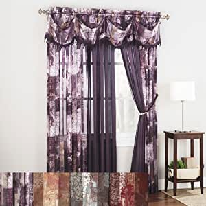 Madagascar Sheer Print Panel - Valance - Burgundy