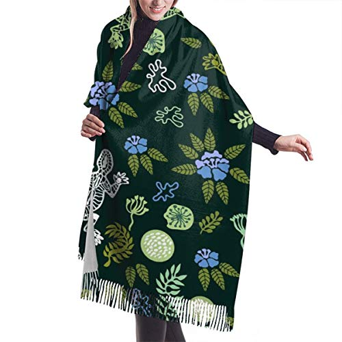 Green Lawn Seamless Pattern With Flowers Grass And Lizards Shawl Wrap Winter Warm Scarf Cape Large Scarf Oversized…