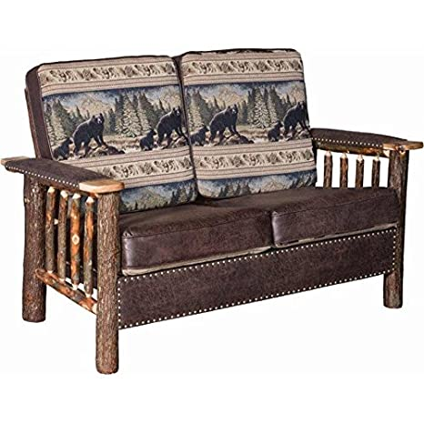 Peachy Amazon Com Rustic Hickory Log Love Seat With Faux Leather Gmtry Best Dining Table And Chair Ideas Images Gmtryco