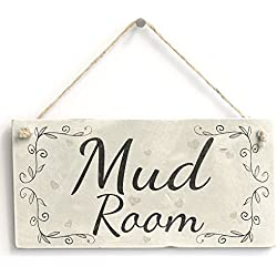Wooden Hanging Sign Mud Room - Handmade Country Style Wooden Home Decor Wall Or Door Sign / Plaque