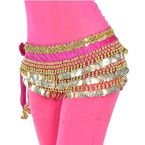 - MUNAFIE Women's Belly Dance Coin Belt Hip Scarf Rose Red