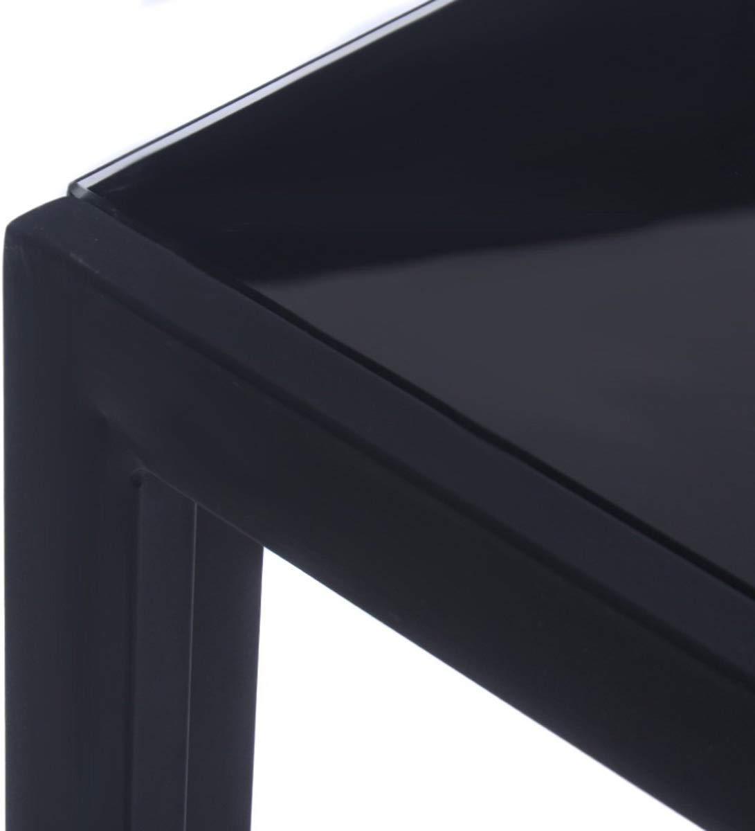 Nero 115 * 68 * 75 cm EBS Tavolo da Pranzo in Vetro Temperato Lucido con Gambe in Metallo