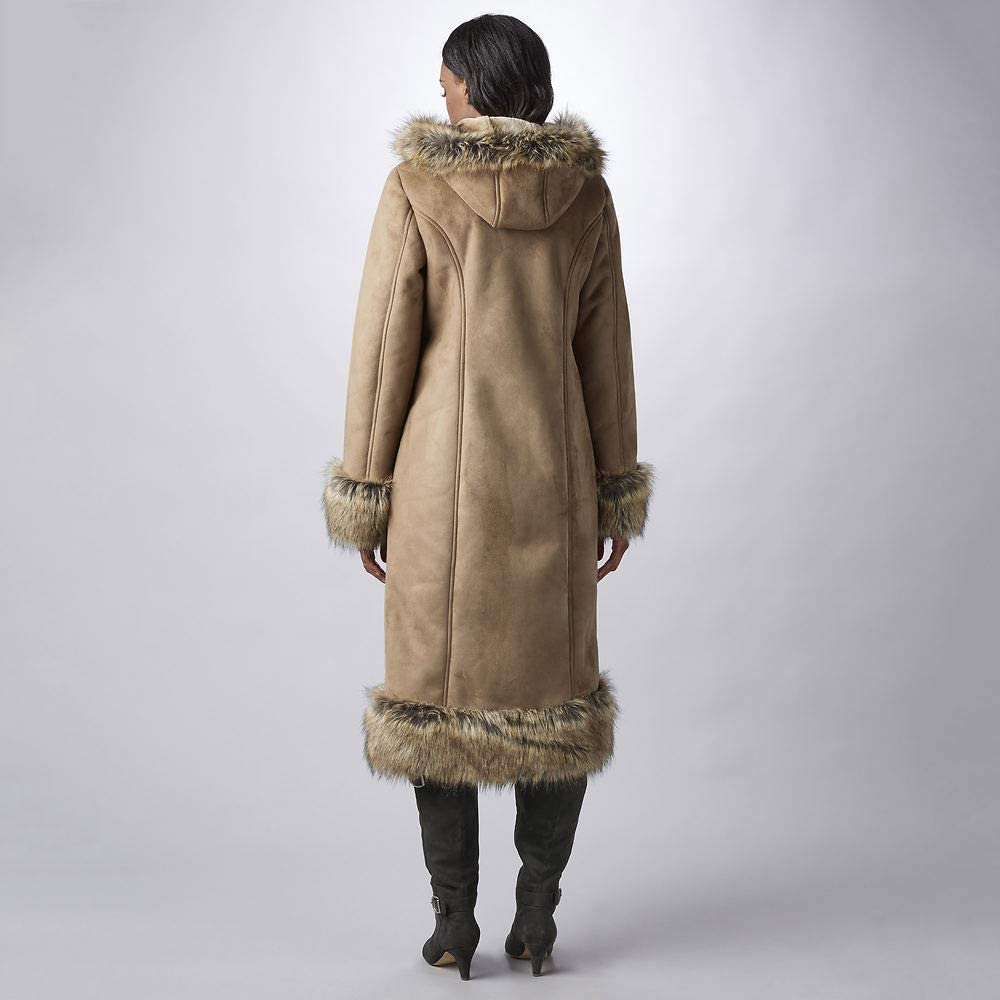 Masseys Fur-Trimmed Faux Suede Coat