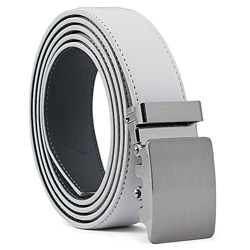 AOG DESIGN Two-Tone Leather Ratchet Dress Belt with Solid Buckle - Magnetic Edition (Silver/White/Gray)