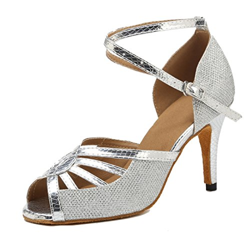 Heel Cut Prom Out 8 Chacha Silver Dance Synthetic Practice Glitter Wedding Sandals Women's 5cm MGM Ballroom Flared Modern Joymod Heel Peep Toe Party Latin Floral Shoes qnTXxFz
