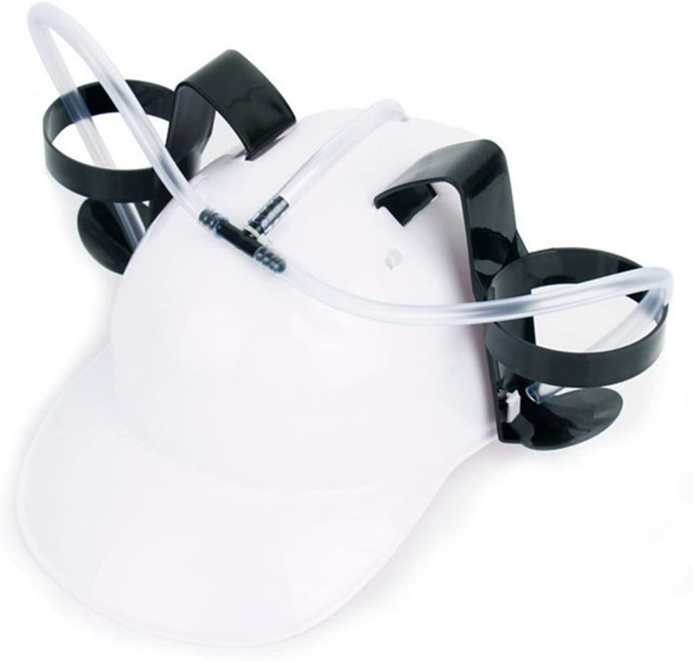 Yueunishi Beverage Helmet, Beer and Soda Guzzler Helmet, Fun Party Drinking Hat, Party Gags Cap (White)