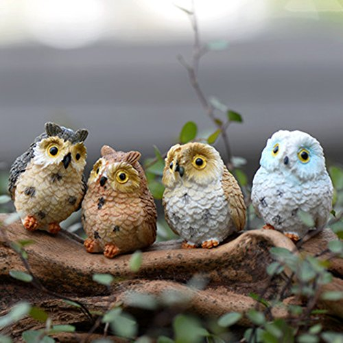 Owl Bird Figurine - Figurines & Miniatures - 4pcs Artificial Cute Miniature Bird Owl Resin Figurine Craft Fairy Garden Dollhouse Ornament Home - Home Decor Decorative Figurines Miniatures Bird Decor Figure Mo