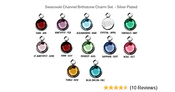 a9c185dc7 Amazon.com: 60pc Set of Genuine SWAROVSKI Birthstone 7mm Channel Charms  Silver Plated: Health & Personal Care