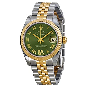 Amazon.com  Rolex Lady Datejust Automatic Green Dial Jubilee and ... 3417ddb50b