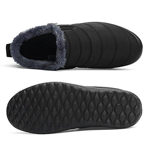 CIOR Herren und Damen Schneeschuhe Fell Gefüttert Winter Outdoor Slip On Schuhe Stiefeletten Schwarz