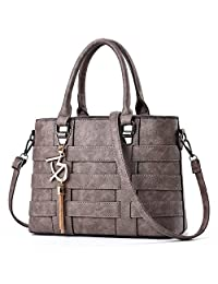 TIBES Designer Handbag Ladies PU Leather Weave Shoulder Bag Women Top-Handle Purse
