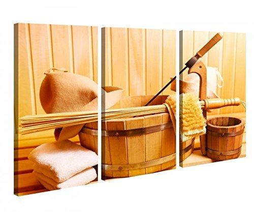 Leinwand 3tlg Sauna Zubehör Wellness Spa Kübel Bild Bilder Leinwandbild Leinwandbilder Holz fertig gerahmt 9X1188, 3 tlg BxH 120x80cm (3Stk 40x 80cm)