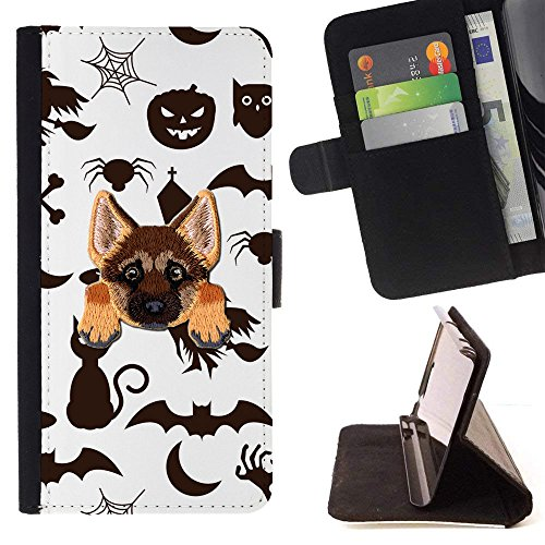 ([ GERMAN SHEPHERD ] Embroidered Cute Dog Puppy Leather Wallet Case FOR OnePlus 5T [ Halloween Black Cat Pattern)