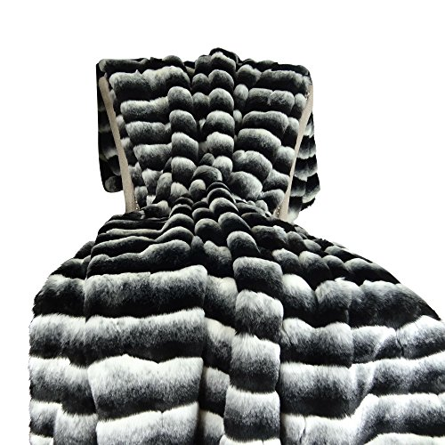 Thomas Collection Black White Chinchilla Faux Fur Throw Blanket & Bedspread - Black Chinchilla Fur - Black White Chinchilla Throw Blanket - Fur Blanket, Made in US, 16432 ()