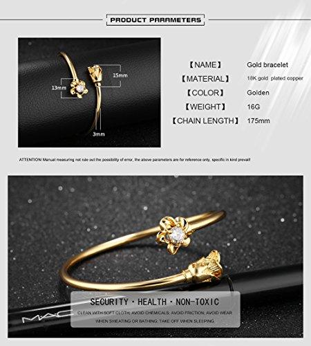 LOHOME Women's Fashion Bracelets 18K Gold Tone Rose charm Open Bangle Cuff for Women by LOHOME (Image #4)
