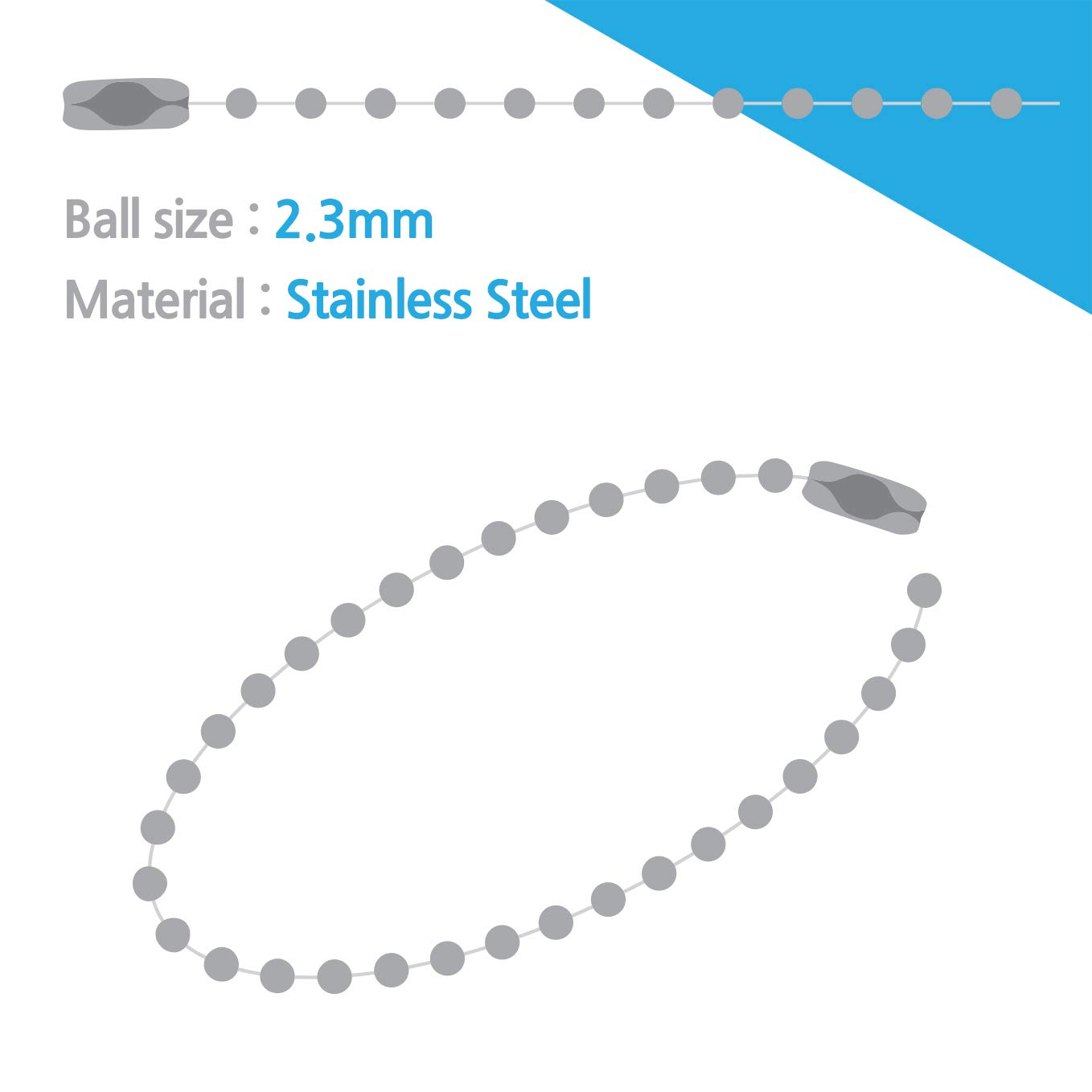 Ballchain Number 3 Connectors Stainless Steel 100 Count 50 Count/_Ballchain Number 3 Connectors Stainless Steel 50 Count