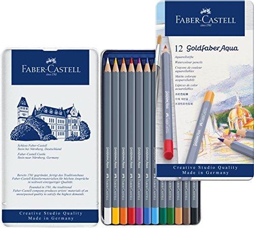 Faber-Castell Creative Studio Goldfaber Aqua Watercolor Pencils - Tin of 12 -