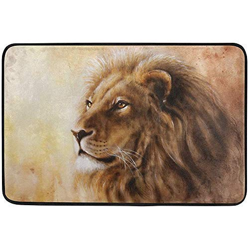 Fun Qiaoya Airbrush Painting of Lion Head with Majesticaly Peaceful Expression Doormat, Entry Way Indoor Outdoor Door Rug with Non Slip Backing, 23.6 x 15.7 inches(40x60cm)