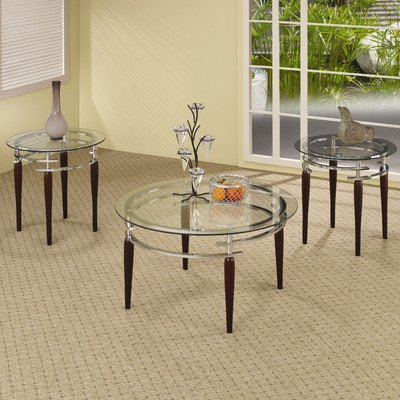 Coaster 701559 3-Piece Occasional Table Set with Round Glass Top