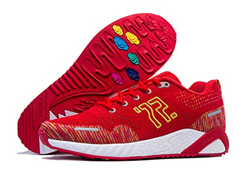 Stylish Walking Jogging up 2018 Fitness Athletic Red Unisex Lace Sneakers gR5wfq