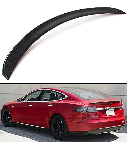 (Cuztom Tuning Matt Matte Dry Carbon Fiber Sport Trunk Lid Spoiler Wing for 2012-2019 Tesla Model S 75D P85 P90D)