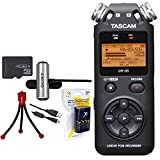 Tascam Portable Digital Recorder (DR-05) w/Bundle + AA Charger (100-240v) w/4 2950mah AA Batteries + Flexible Mini Table-top Tripod + Clip style Omnidirectional Stereo Microphone