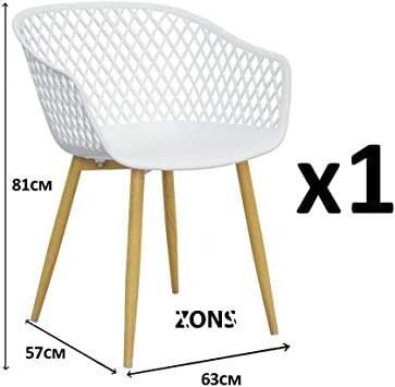 PP en avec métal Tango Fauteuil Assise Salle ZONS Manger Blanc en Chaise 57x63xH81cm a 1cl3TFKJ