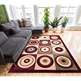 Downtown Circles and Squares Multi Color Geometric 8x10 (7 10  x 9 10 ) Mansion Room Area Rug Modern Abstract...