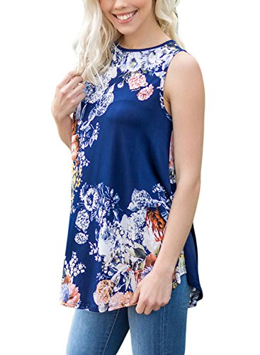 LOSRLY-Women-Floral-Print-T-Shirt-High-Neck-Casual-Blouse-Sleeveless-Tank-Tops