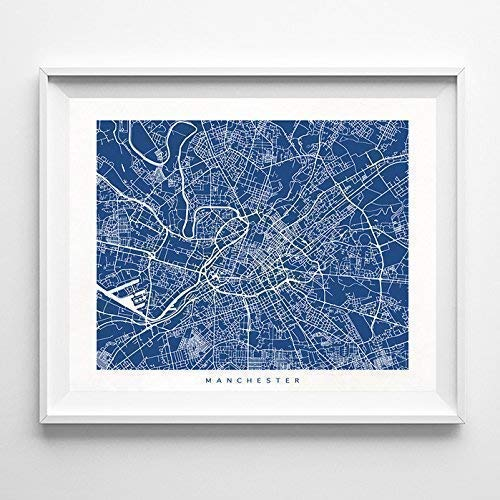 Manchester England Street Road Map Home Decor Poster Urban City Hometown Wall Art Print - 70 Color Options - Unframed