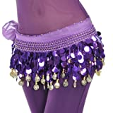 BellyLady Belly Dance Hip Scarf, Gold Coins Dance Skirt Christmas Gift Idea PURPLE