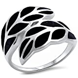 Simulated Black Onyx Wrap Around Leaf .925 Sterling Silver Ring Sizes 5-11